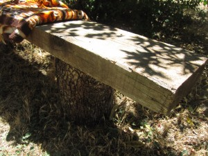 Bench made from Recycled Wood & Tree Stumps